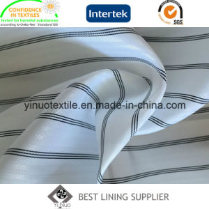 100% Polyester Yarn Dyed Stripe Sleeve Lining Fabric for Suit pictures & photos
