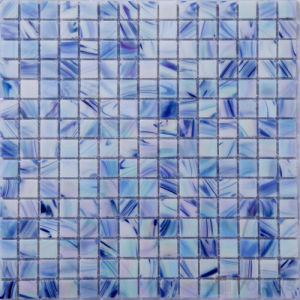 Solid Blue Gold Line Swimming Pool Glass Mosaic