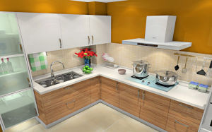 Best Sale MDF Kitchen Cabinet with UV Surface (ZX-026) pictures & photos