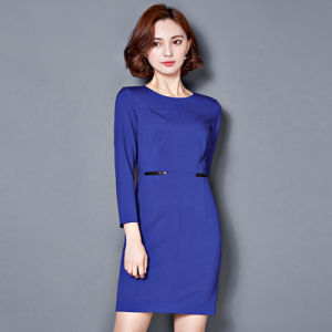 Slim Fit Long Sleeves Ladies Fashion Office Blue Dress pictures & photos