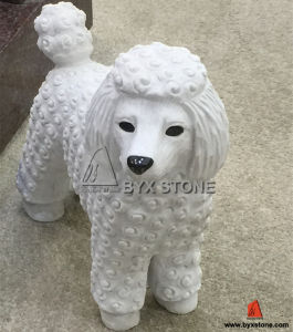 White Marble Stone Poodle Dog Statue Decoration Sculpture pictures & photos