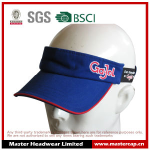 Cotton Cap Embroidery Logo Sports Visor with Stretch
