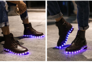 British Fashion High Quality Leather Men Women Martin Boots LED Shoes for Adults pictures & photos