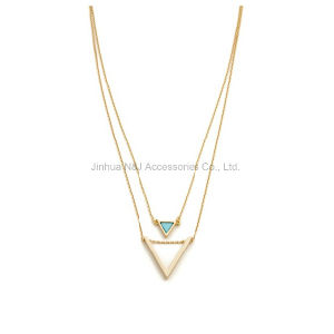 Double Layers Gold Chain Necklaces for Women Pendant Jewelry pictures & photos