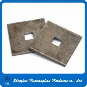 China Manufacture Galvanzied Steel Square Washer with Round Square Hole pictures & photos
