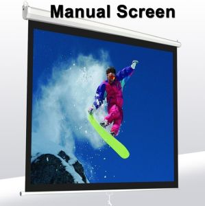 150 Inch Wall Mount Office Projector Matte White Manual Projection Screen pictures & photos