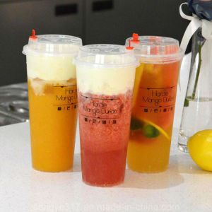 PP Clear 500 Ml Juice Plastic Cup with Cover pictures & photos
