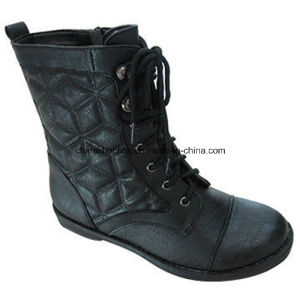 China Women Winter Ankle Boots Supplier PU Leather pictures & photos