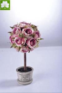 Artificial Rose Ball in Paper Mache Pot Decoration