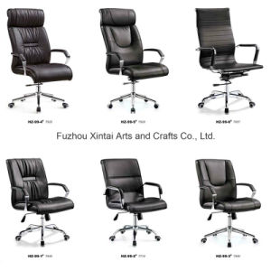 Luxury Adjustable Black Leather Office Excutive Chair with Steel Leg