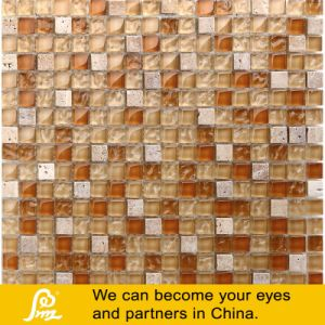 Travertino Stone Mosaic with Crystal Glass Mosaic Tile 03 pictures & photos
