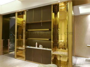 Fashion Style Commercial Usage Rose Gold Mirror Finish Stainless Steel Display Stand Metal Table Manufacturer pictures & photos