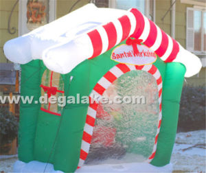 Inflatable Green Santa Working Tent for Merry Christmas
