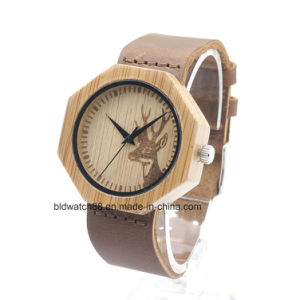 Popular Octagon Face Bamboo Wood Wrist Watch for Men Women pictures & photos