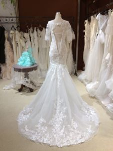 Mermaid Short Sleeve Wedding Dress with Appliques pictures & photos