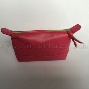 Red PU Women Hand Cosmetic Bag