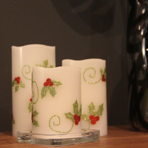 Flowery Printed Flameless LED Candle for Gift and Home Decoration pictures & photos