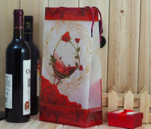 UV Printed Plastic PVC Gift Bags for Red Wine Package