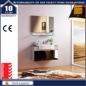 Hot Selling MDF White Paint Bathroom Cabinet with Mirror Cabinet pictures & photos