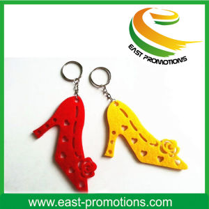 Promotional Hollow High-Heeled Shoes Shaped Felt Keychain pictures & photos