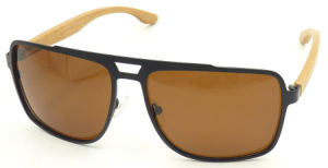 Fqmw162417 Holesale Newest Design Factory Bamboo Wood Temple Stainless Steel Sun Glass Quality Sunglasses pictures & photos
