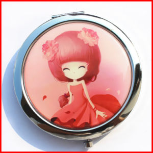 Commerce Advertising Gift Customized Epoxy Metal Pocket Mirror with Cartoon Print pictures & photos