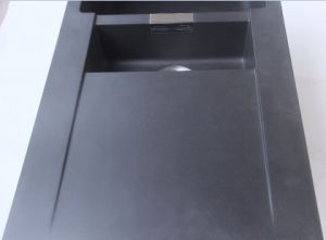 Topmount 1&1/4 Bowl Black Quartz Kitchen Sink with Drainer Board pictures & photos