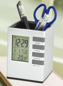 Practical for Office and Home with Pen Holder Desk Clock pictures & photos