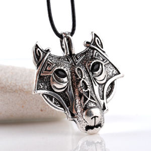 Antique Silver Ornate Wolf Face Pendant Necklace Nordic Viking Norse Head pictures & photos