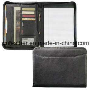 Leather Business Zipper Portfolio File Folder with Card Slots pictures & photos