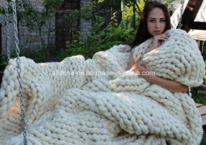 Low Price Wool Acrylic Crochet Hand Knit Blanket pictures & photos