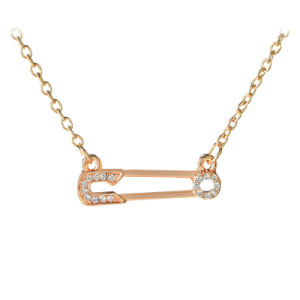 Fashion Jewelry Metal Crystal Safety Pin Pendant Necklace pictures & photos