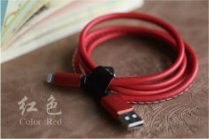 Phone USB Data Cable with PU Leather Jacket for Apple Devices pictures & photos