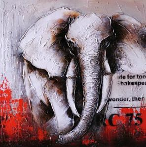 100% Hand Painted Oil Painting on Canvas Abstract Elephant Painting Pictures Acrylic Textured Paintings