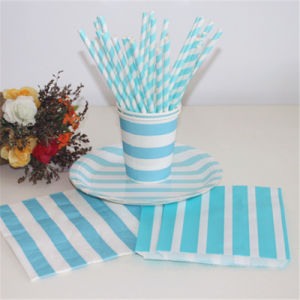 Blue Color Paper Straw Bag and Plate with Different Designs for Party pictures & photos