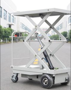 Powered Drive and Lift Scissor Lift Trolley (HG-1060B) pictures & photos