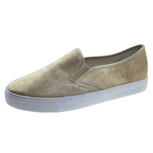 Gold PU Casual Slip on Fashion Vulcanized for Women