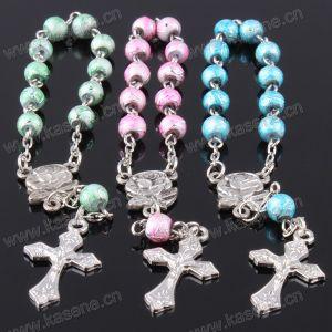 Nickel Glass Beads Religious Cross Rosary Bracelet