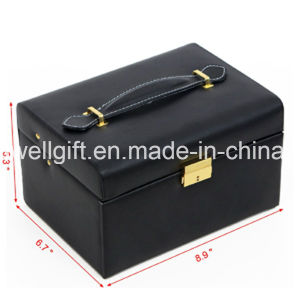 White Leather Jewelry Box Lockable Makeup Storage Case pictures & photos