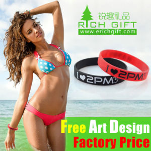 Custom Fashion Silicon/Rubber/PVC/Printed/Embossed/Debossed/Luminous Silicone Wristband Bracelet with Logo pictures & photos