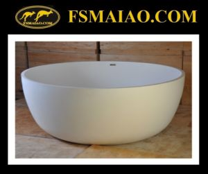 Big Space White Freestanding Circular Bathtub Solid Surface (BS-8615) pictures & photos