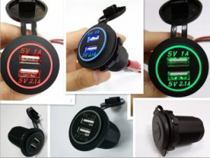 1A / 2.1A Dual USB Car Cigarette Lighter Charger - Black (12V) pictures & photos