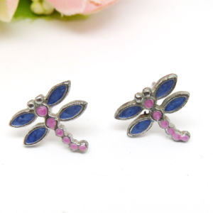 Guangzhou Wholesale Custom Alloy Enamel Dragonfly Stud Earring Jewelry pictures & photos