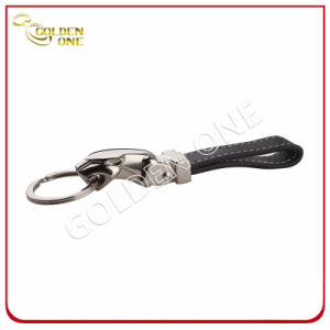 High Quality Steel Brushed Finish Epoxy Leather Keychain pictures & photos