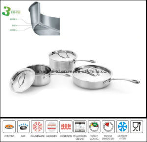 Cookware 3ply Body Induction Saucepan pictures & photos