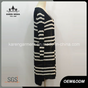 Open Front Striped Knitted Women Cardigan pictures & photos
