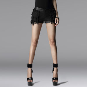 Unique Branded Gothic Punk Dark PU Short Trousers (K-155) pictures & photos