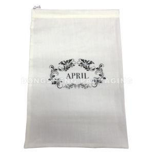 Elegant White Satin/Polyester Fabric Shirt Git Bag