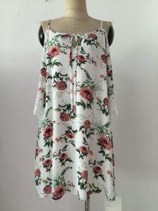 New Ladies European Fashion Flower Print Sundresses Slim Dress Hip