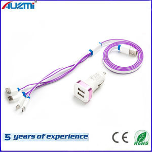 2.1A Portable Dual USB Car Charger with Noodles Cable